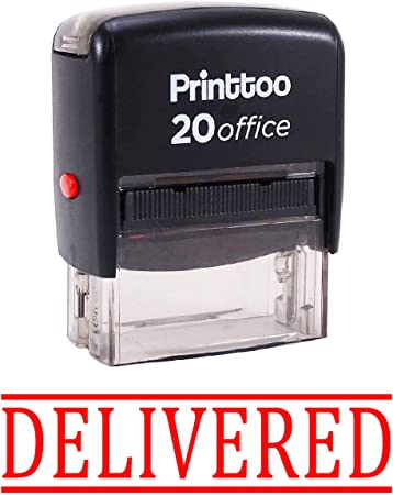 Printtoo DELIVERED Self Inking Rubber Stamp Office Stationary Custom Stamp-Red