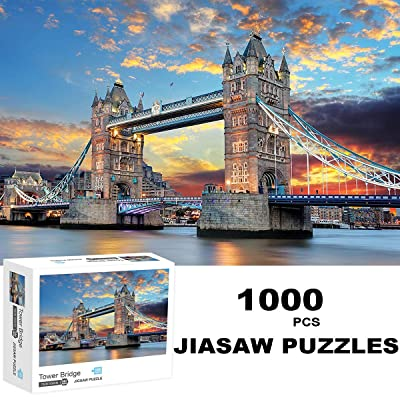 "Jigsaw Puzzle 1000 Piece London Tower Bridge Landscape Puzzle for Kids Adult Space 27"" L x 20"" W Jigsaw Puzzle Stress Relief Game: Toys & Games"