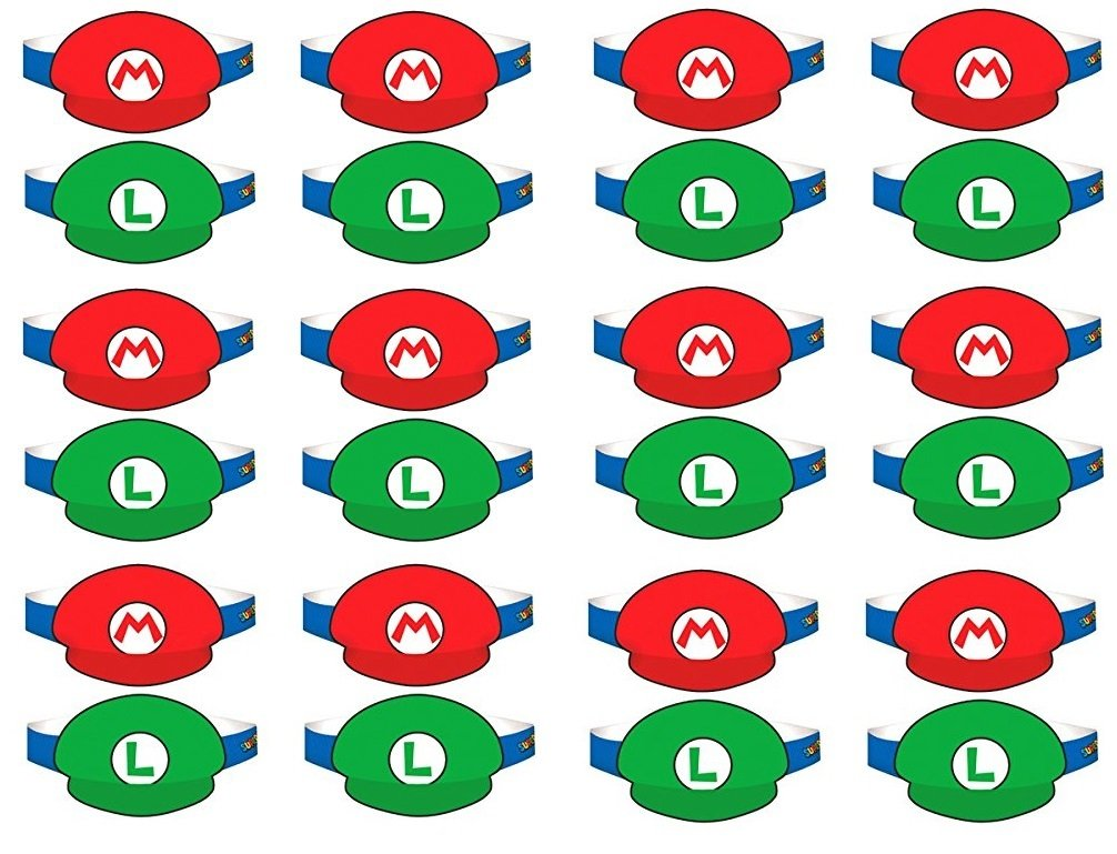 Amscan Super Mario Brothers Birthday Party Paper Visor Hat Favors, Multicolor, 4 3/4'' (3 packs of 8)