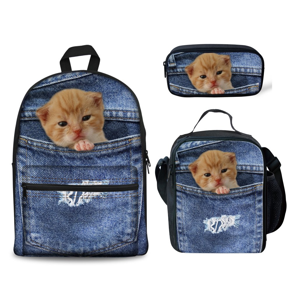Denim Backpack+Lunch Bag+Pencil Case1 coloranimal 3PCS Set of Canvas Jansport Backpack+Insulated Lunch Box+Pencil Case