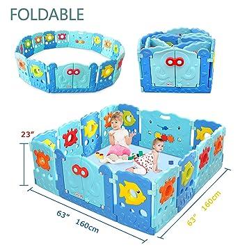 4cabe8709 Amazon.com   Baby Playpen - Kids 14 Panel Activity Centre Safety ...