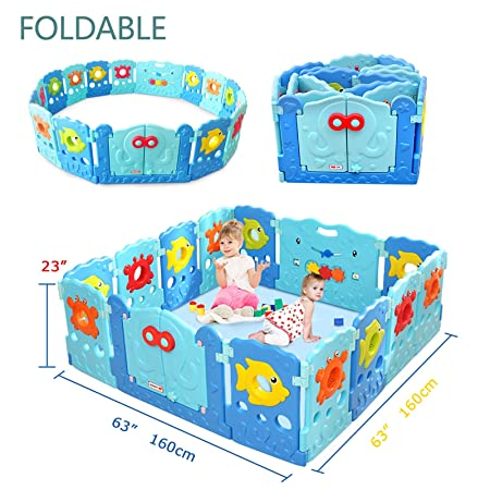 Baby Playpen – Kids 14 Panel Activity Centre Safety Play Yard, Home Indoor Outdoor New Pen – Sea World