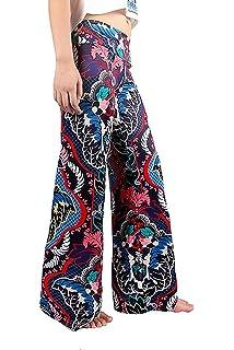 BIRAN Pantalon Large pour Femmes Imprimé À Motifs en Long breal Pantalon  Vrac Taille Élastique Loisirs 4d31391001d