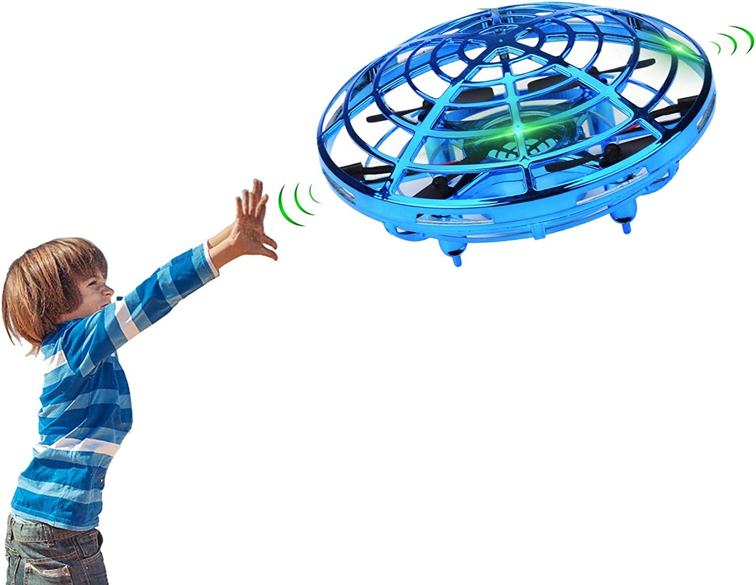 Gold Hand Operated Mini Drone for Kids Lumsburry Flying Ball Toy UFO Helicopter Infrared Induction Quadcopter with LED Light 360 Degree Rotation