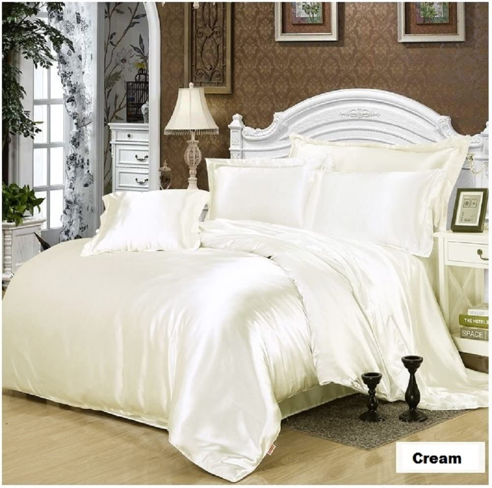Silk Satin Duvet Cover Silky Bedding Set Fitted Sheet Pillow Cases Cushion Cover
