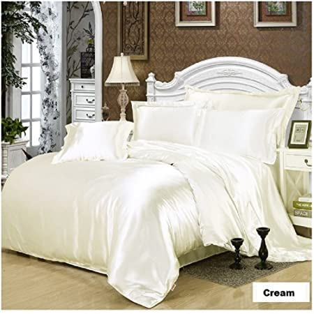 7 Piece Satin Bedding Sets Cream Double Bed Size Duvet Cover , Fitted Sheet  , Cushion