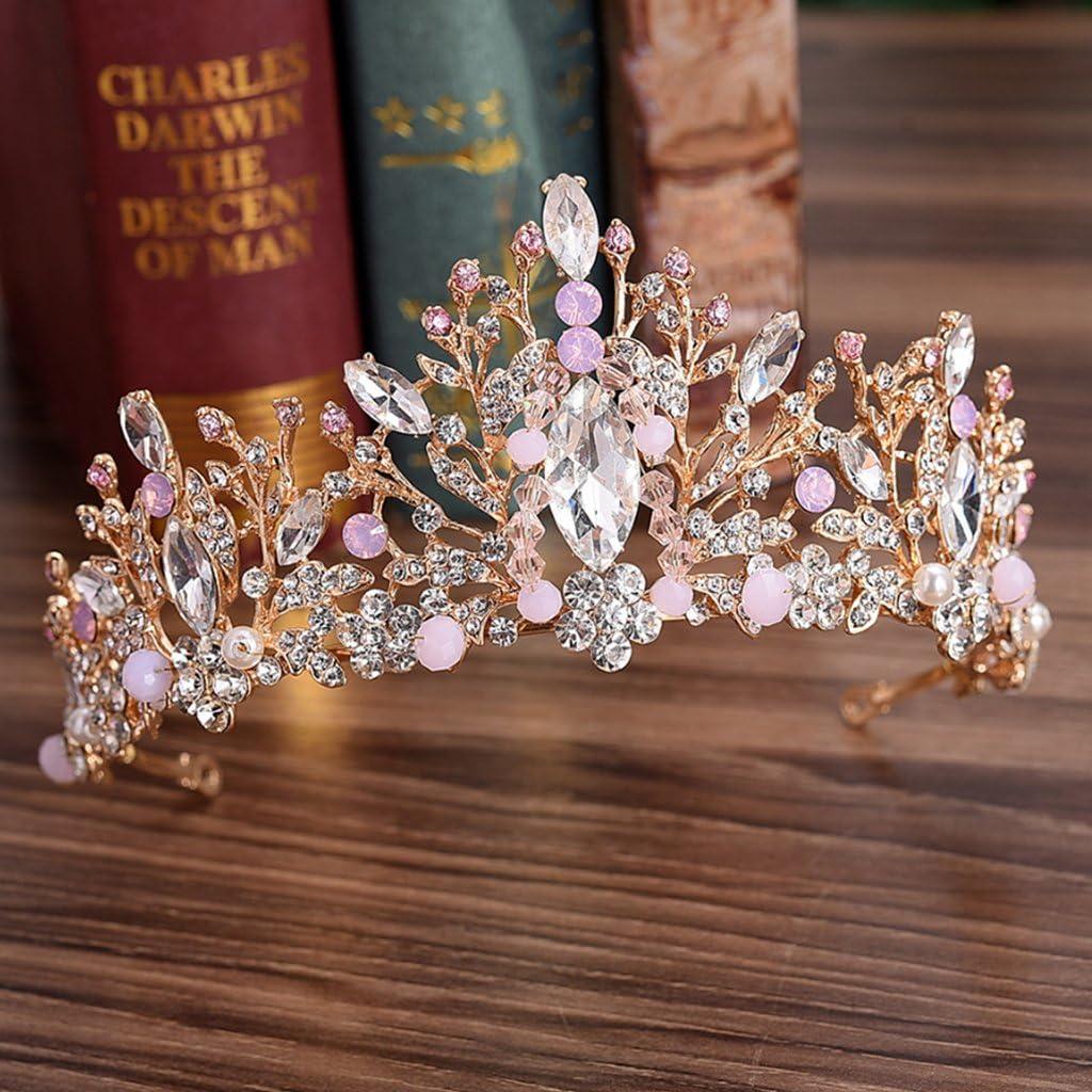Manman Baroque Bridal Crown-Bride Crown Wedding Tiara Bridal Women Pink Rhinestone Princess Headwear