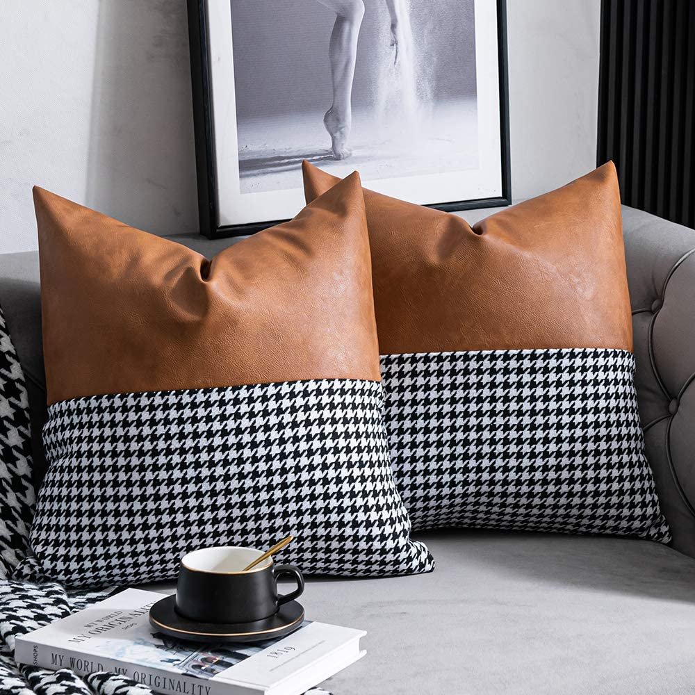 DEZENE Vintage Throw Pillow Covers: Set of 2 18x18 Inch Traditional Houndstooth with Faux Leather Decorative Square Accent Cushion Pillow Cases for Farmhouse Couch Sofa Bed, Brown