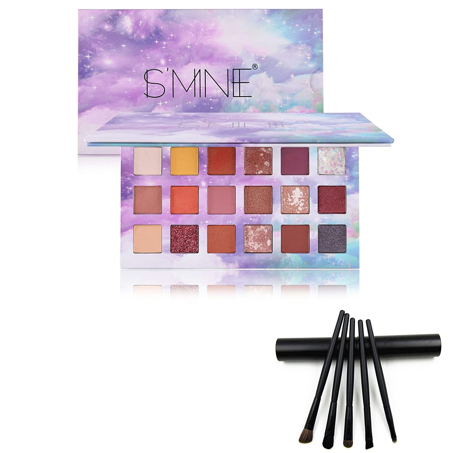 FANICEA Eyeshadow Palette and 5 Pcs Brushes Set Professional Smooth High Pigmented Waterproof Colorful Long Lasting 18 Colors Bright Mattes Shimmers Blendable Natural Eyes Makeup Kit for Daily Party