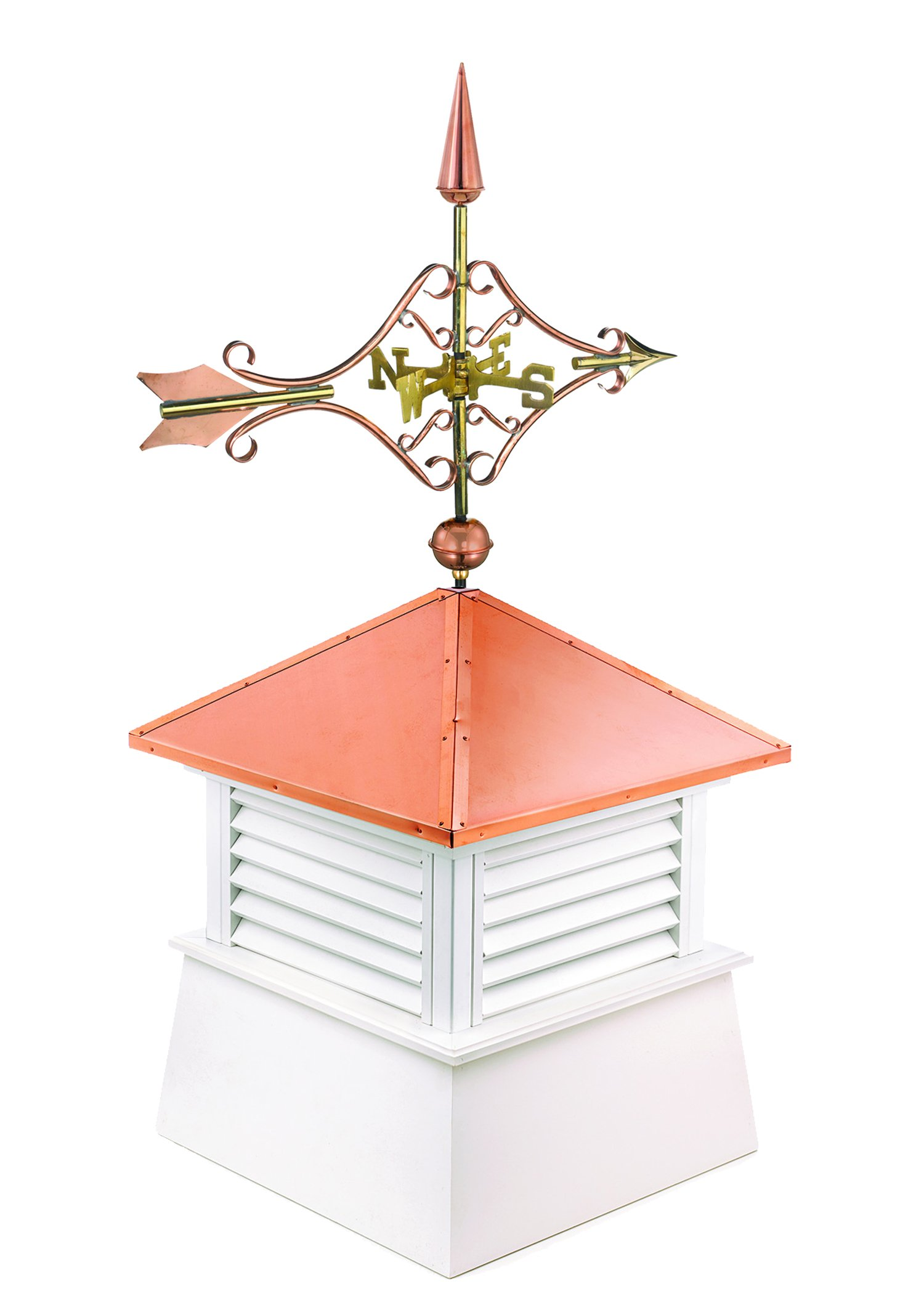 "Manchester Vinyl Cupola with Victorian Arrow Weathervane, Perfect Size for a Small Shed, 18"" square x 44"" high, Pure Copper Roof by Good Directions"
