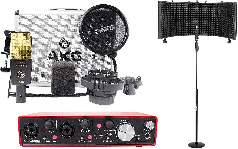 AKG C414 XLII Micrófono de grabación + Interfaz Focusrite + Escudo vocal + Soporte: Amazon.es: Instrumentos musicales