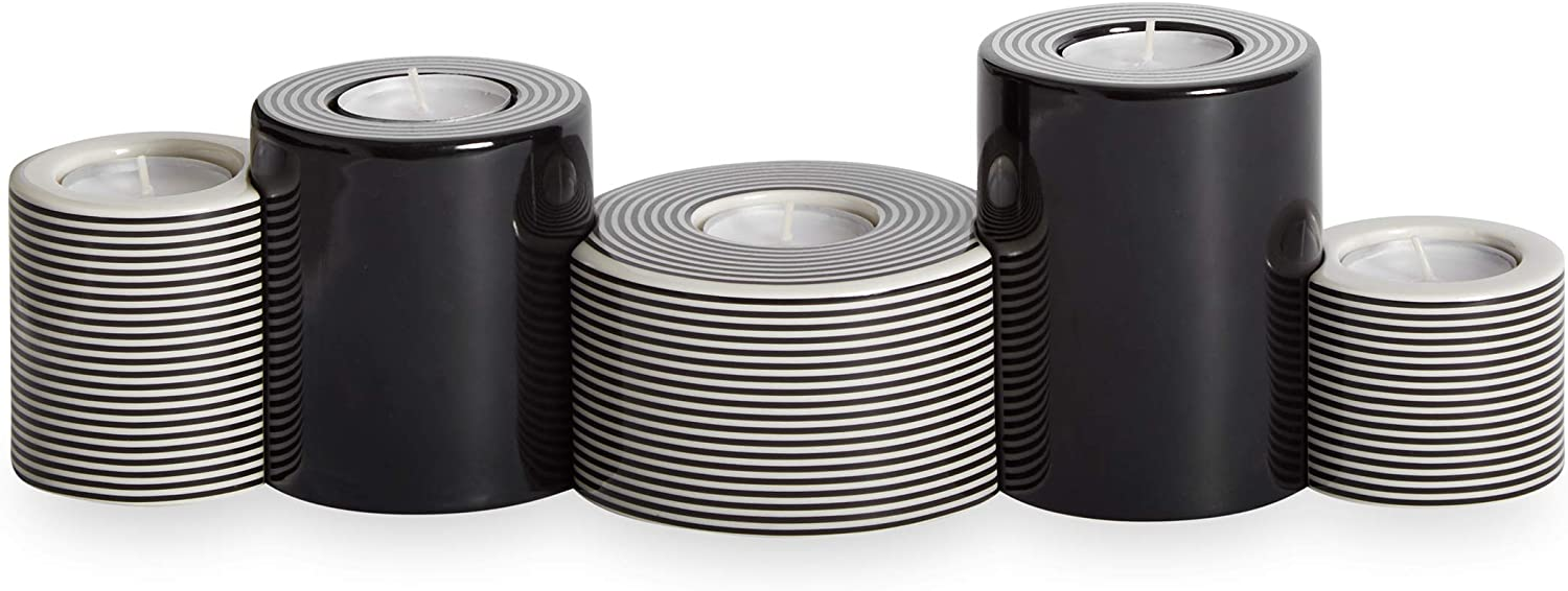Now House by Jonathan Adler Mod Lines Modular Candleholder, Black and White