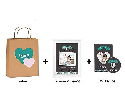 Regalo Original Enamorados/Pack 3 Piezas/Lámina con Marco + ...
