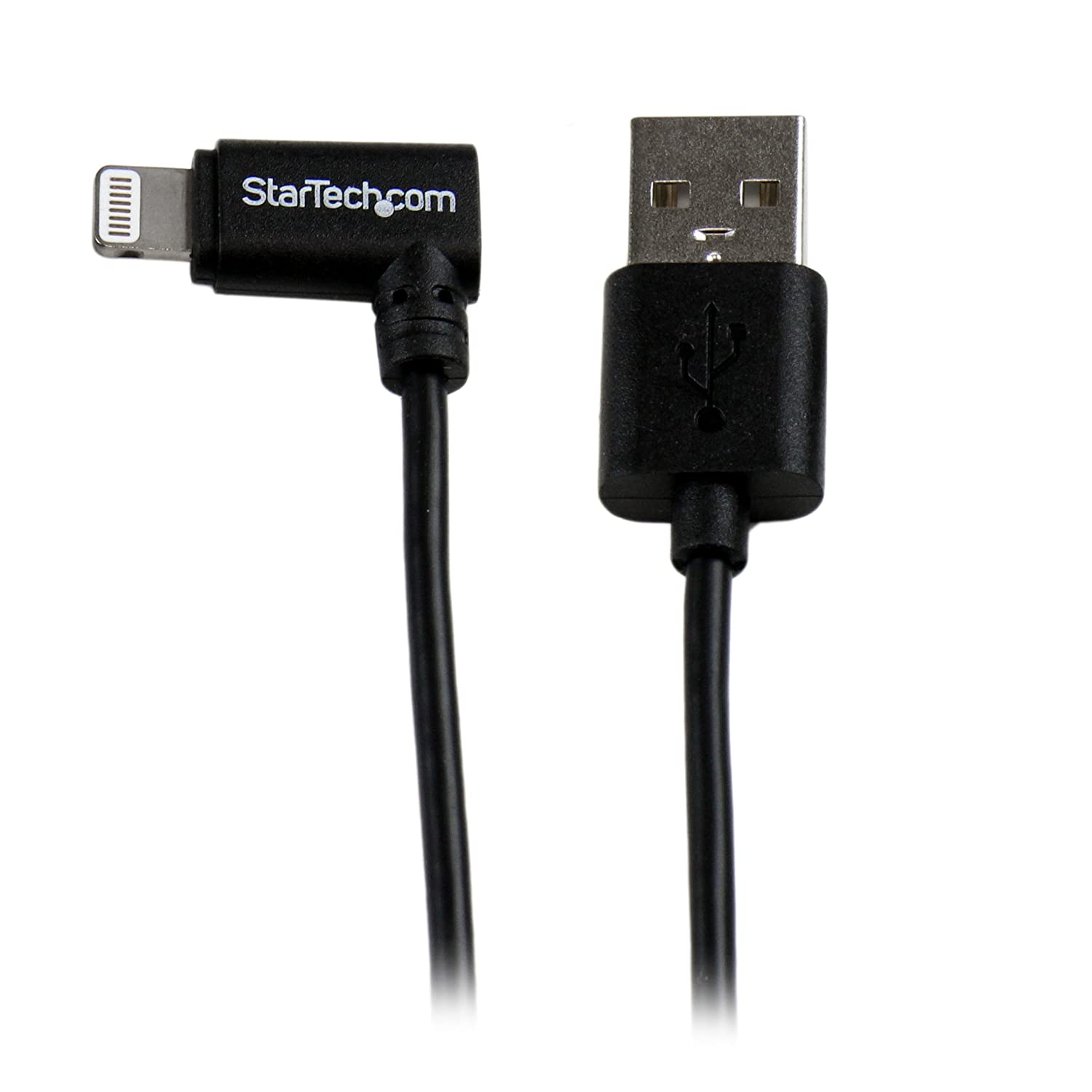 2m 6ft Angled Black Apple 8-pin Lightning to USB Cable for iPhone iPod iPad - Angled Lightning Cable - Charge & Sync - 2 m