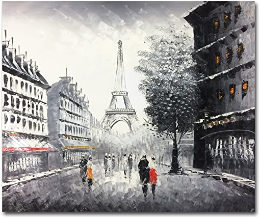 Muzagroo Art Hand Painted Paris Oil Painting Eiffel Tower Wall Art for Living Room Stretched Ready to Hang Black and White