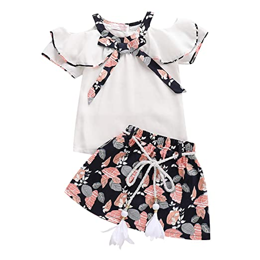 99173a9f8 Skirts Set for Toddler Girls Summer Chiffon Tops and Floral Print Skirts  Outfits Set (White