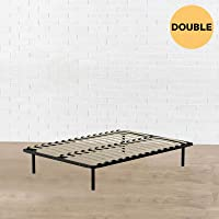 Janvier 16 Metal Bed Frame, with Slat Wooden Platform Base, Mattress Foundation, 35cm Extra Space Under Bed Storage, 2 Years Warranty, Double