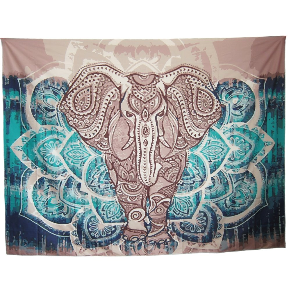 "Mofeng Bohemian Mandala Elephant Home Decor Wall Decoration Wall Hanging Tapestry Beach Blanket, 79"" x 59"""