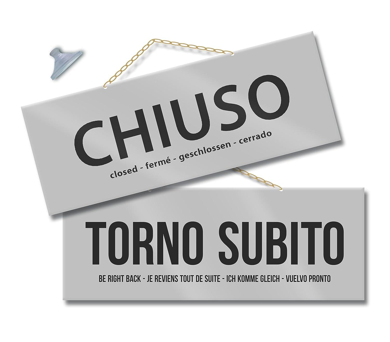 Maxi Cartello APERTO e CHIUSO per negozio vetrina studio laboratorio officina bottega argento//argento