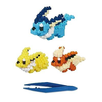 Nanoblock Vaporeon (140pcs) Jolteon (170Pcs) Flareon(170pcs) +Gift Tweezers Plastic Cube Building Blocks (Smartoys): Toys & Games