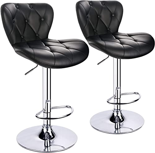 Leopard Shell Back Adjustable Bar Stool