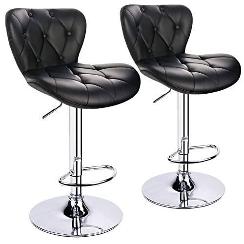 Leopard Shell Back Adjustable Bar Stools, Swivel Bar Stool with Decorative Buckle, Set of 2, Black – Adjust from 22.5 Inches to 32.5 Inches