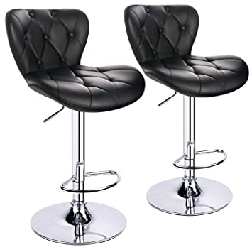 Cool Leopard Shell Back Adjustable Bar Stools Swivel Bar Stool With Decorative Buckle Set Of 2 Black Adjust From 22 5 Inches To 32 5 Inches Machost Co Dining Chair Design Ideas Machostcouk