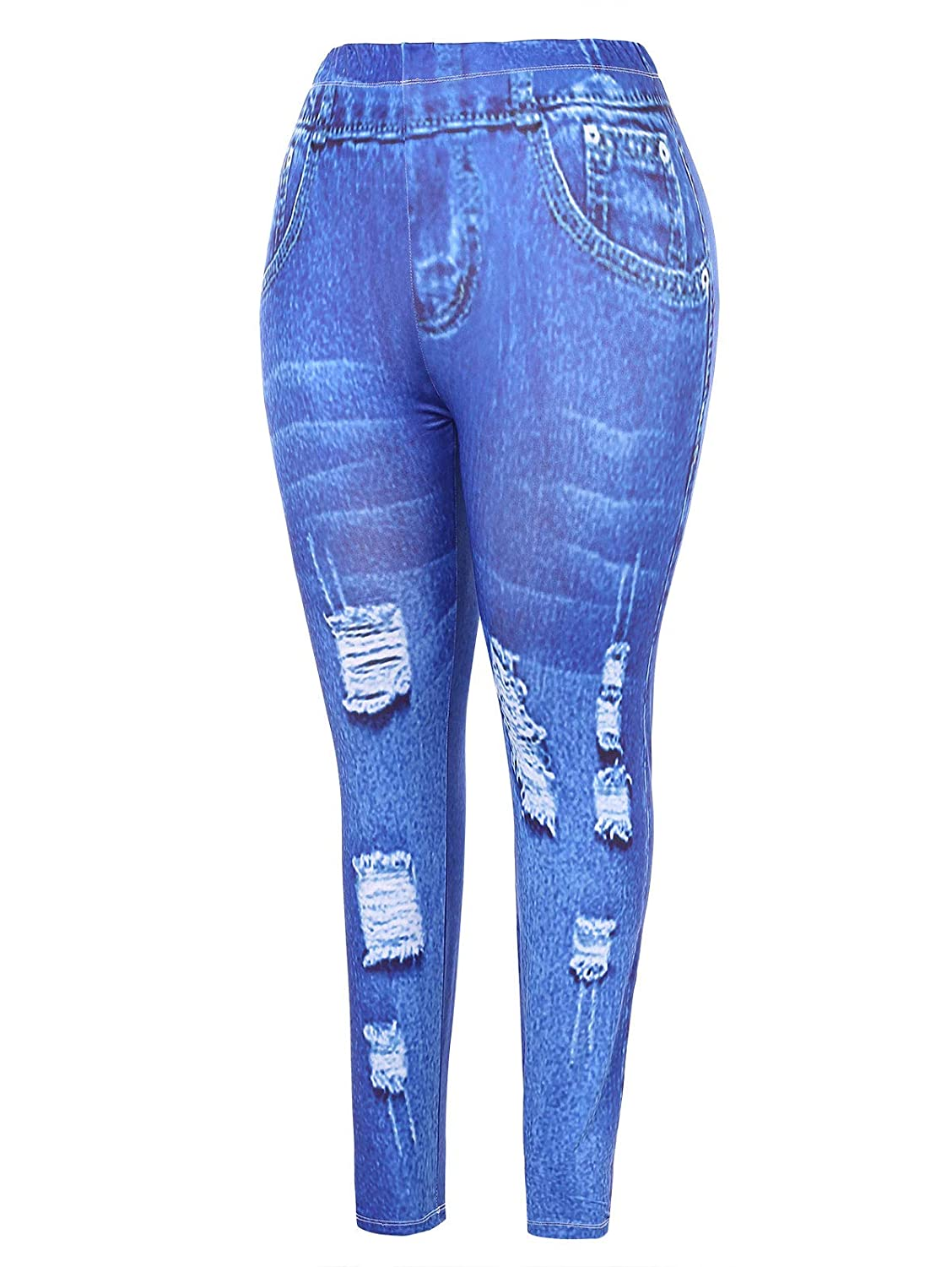 73cb39d08cc KENANCY Womens Plus Size High Waisted Denim Print Fake Jeans Full Length  Leggings at Amazon Women s Clothing store
