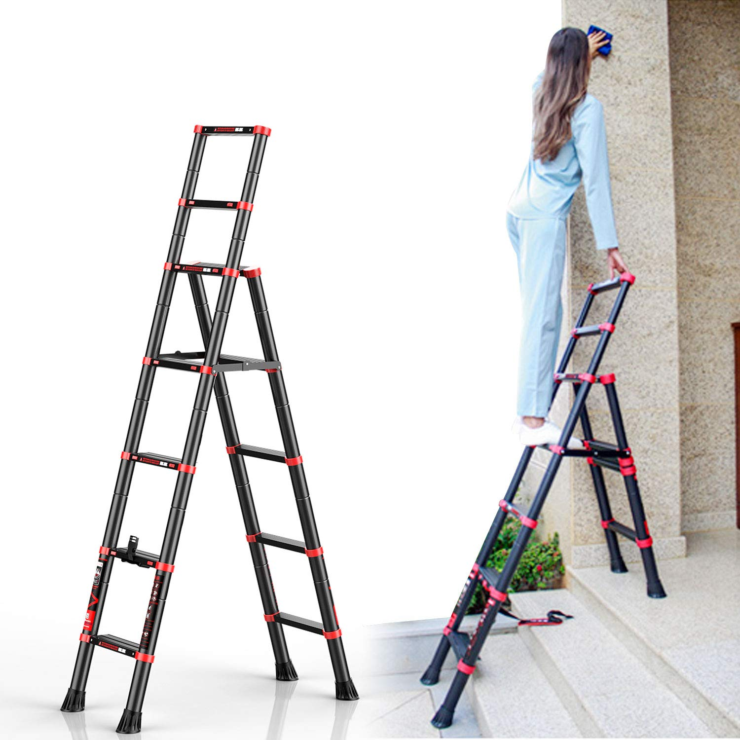 charaHOME 5+7 Step Ladders Telescopic Ladder with Aluminum 6 ft Tall Extendable Retractable Compact and Multi Position Ladder Telescoping Lightweight Portable Ladder Height-Locking Latches A-Frame