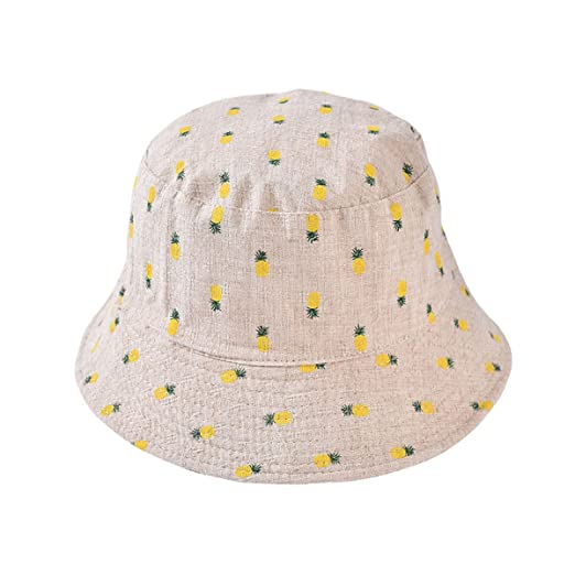 Woman Cotton Bucket Hat Wide Brim Casual Sun Hat Cute Pineapple ... 5cd9e4cfd
