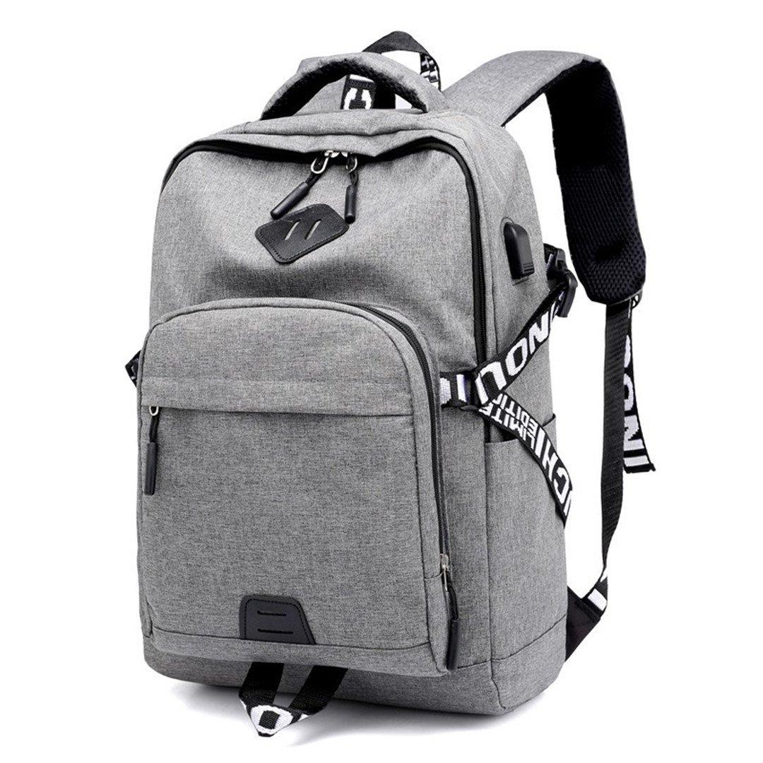 Casual Laptop Rucksack Männlich USB Lade Nylon Wasserdichte Männer Rucksack Schwarz Schultasche Rucksäcke Tasche Für Jugendliche black TOOENGS