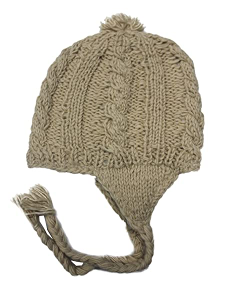 b477b20711b Amazon.com  Sherpa Designs Hand Knit Unisex WOOL Beanie Hat Ear Flap Fleece  Lined Nepal (Beige)  Clothing