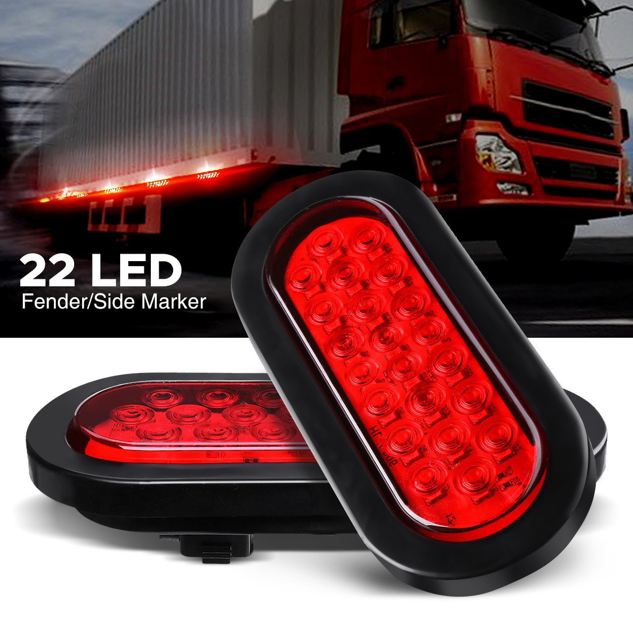 Audew 2Pcs 6-inch Oval LED Trailer Tail Lights, Red Brakes/Marker Lights for Truck,Boat,Trailer,Bus,IP65 Waterproof,DC 12V