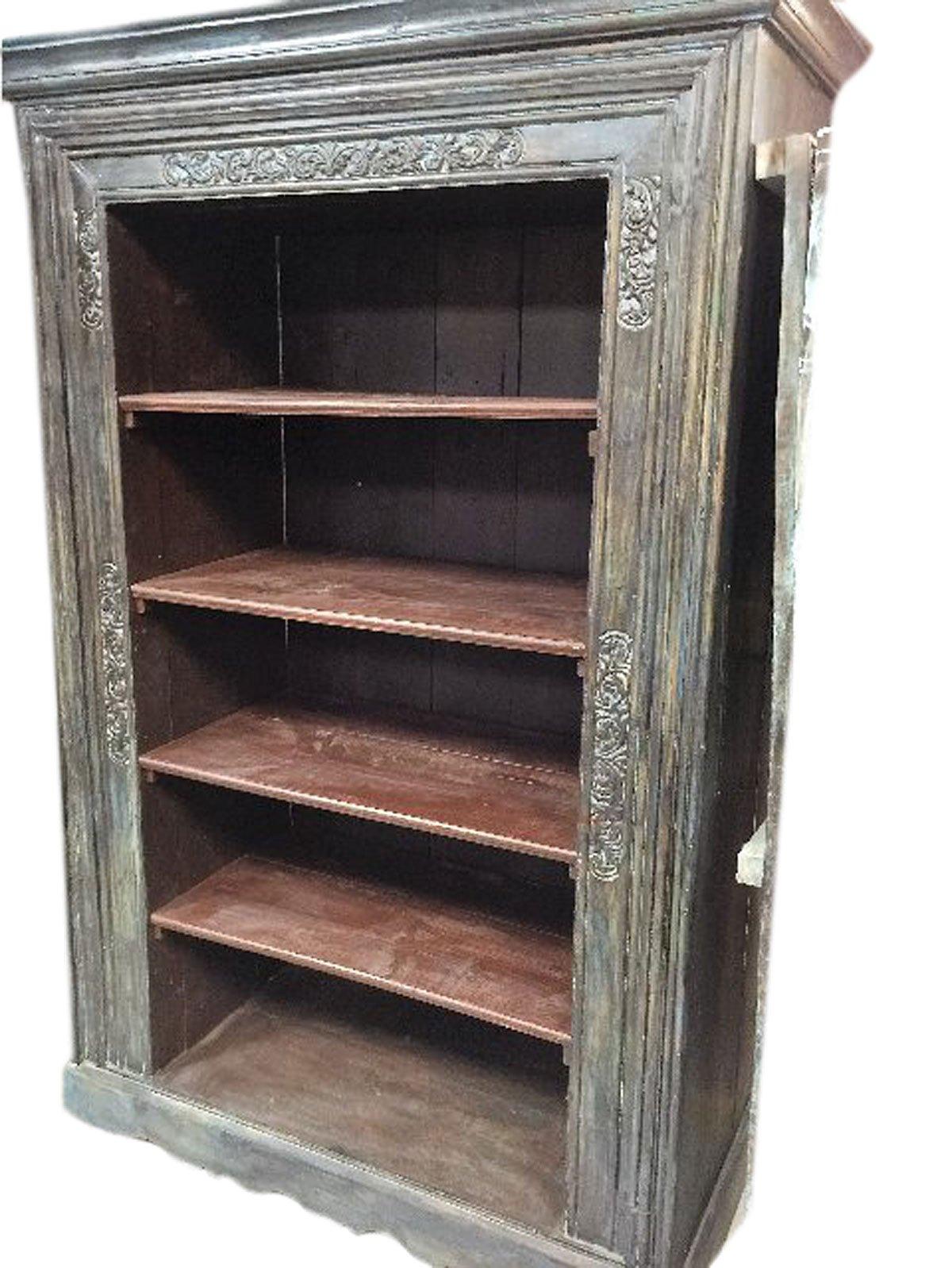 Mogulinterior Antique Indian Bookcase Hand Carved Book Shelf Furniture