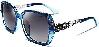 FEISEDY Gran Tamaño Gafas de Sol para Mujer Polarizadas de Moda Protección UV400 Marco Compuesto Espumoso B2289