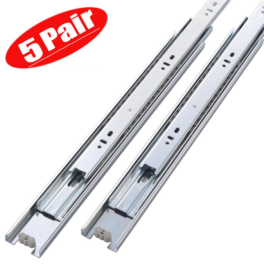 Friho 5 Pair of 18 Inch Hardware Ball Bearing Side Mount Drawer Slides, Full Extension, Available in 12'',14'',16'',18'',20'' Lengths