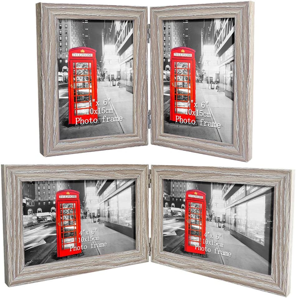 Double Picture Frame Chrome Silver 6 x 4/' Brushed 10 x 15 cm Hinged Present