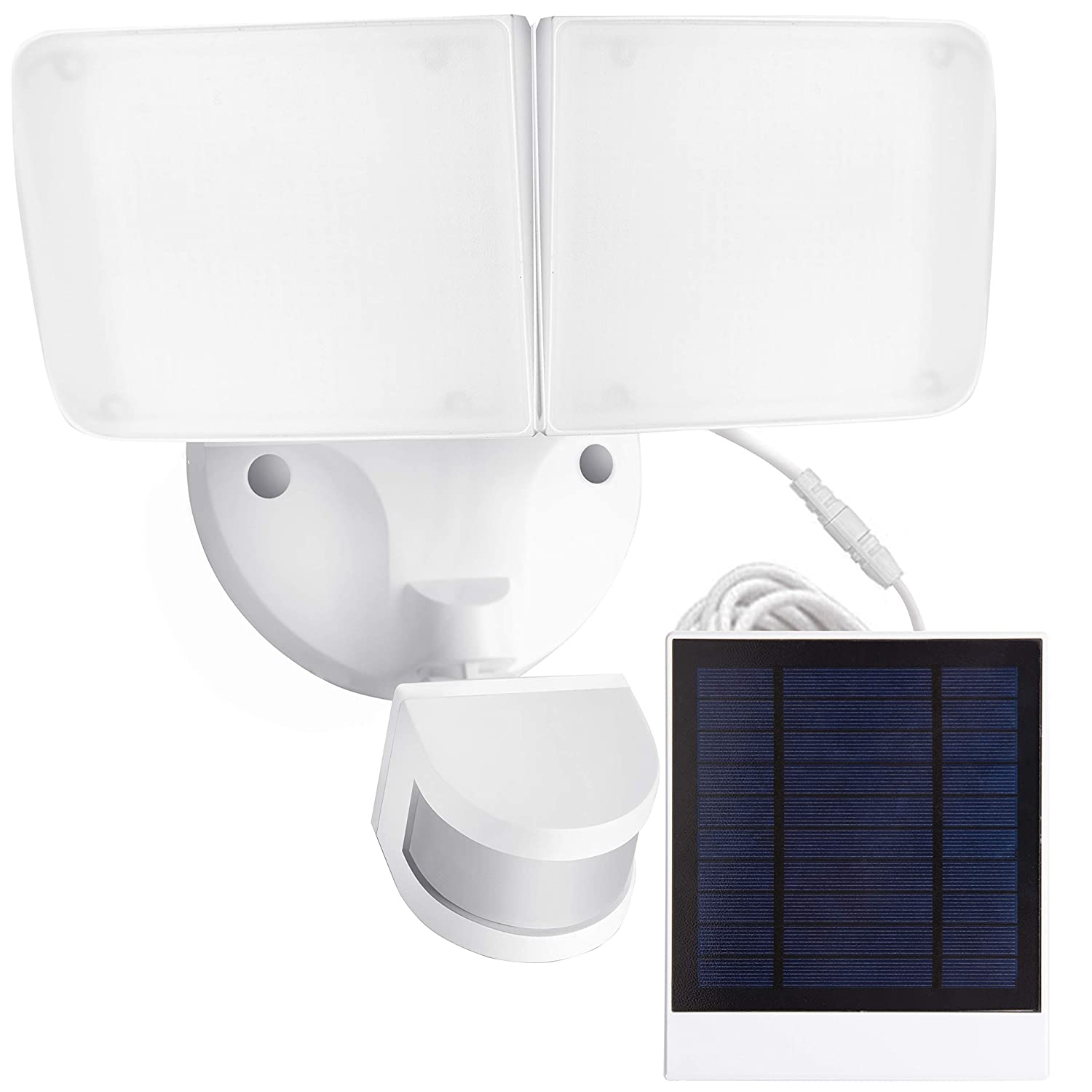 Amico Solar LED Security Light, Outdoor Motion Sensor Light, 5500K, 1000LM, IP65 Waterproof, Adjustable Head Flood Light with 2 Modes Automatic and Permanent on, for Entryways, Patio, Yard
