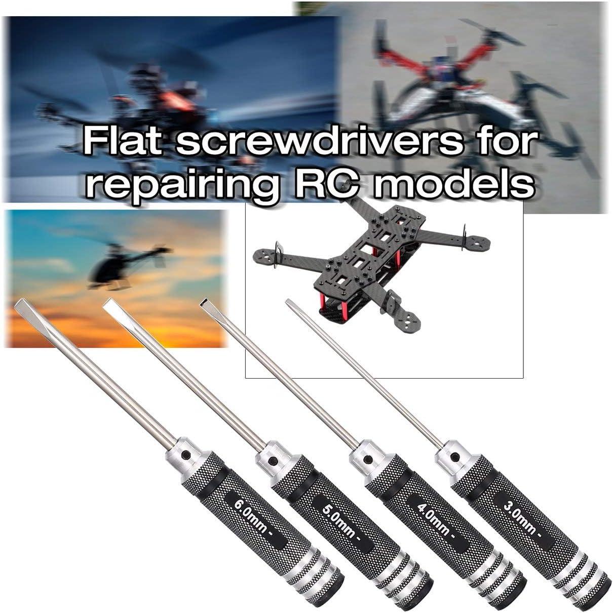 fFRtprintse 4pcs Droite Tournevis Plat 3.0mm 4.0mm 5.0mm 6.0mm Outils en m/étal Kit pour RC H/élicopt/ère Voiture Racing Drone Mod/èle davion
