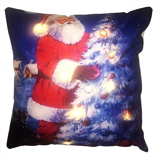 Showhome - Funda de cojín con luz LED, diseño de Navidad con ...