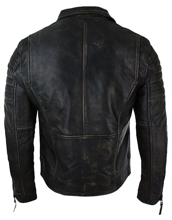 Infinity Mens Slim Fit Cross Zip Vintage Brando Washed Real Leather Jacket Black Brown Tan Black-ruboff