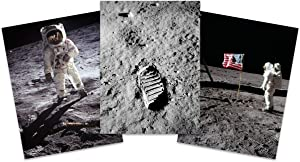 Apollo 11 Astronaut Aldrin Armstrong 50th Anniversary Moon Landing Wall Art Print Large Poster Home Decor Premium Pack of 3 18X24 inch