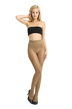 Alice & Belle Women 40 Den Control Top Pantyhose, Soft Tights with Sheer Toe (Large, Bronze)