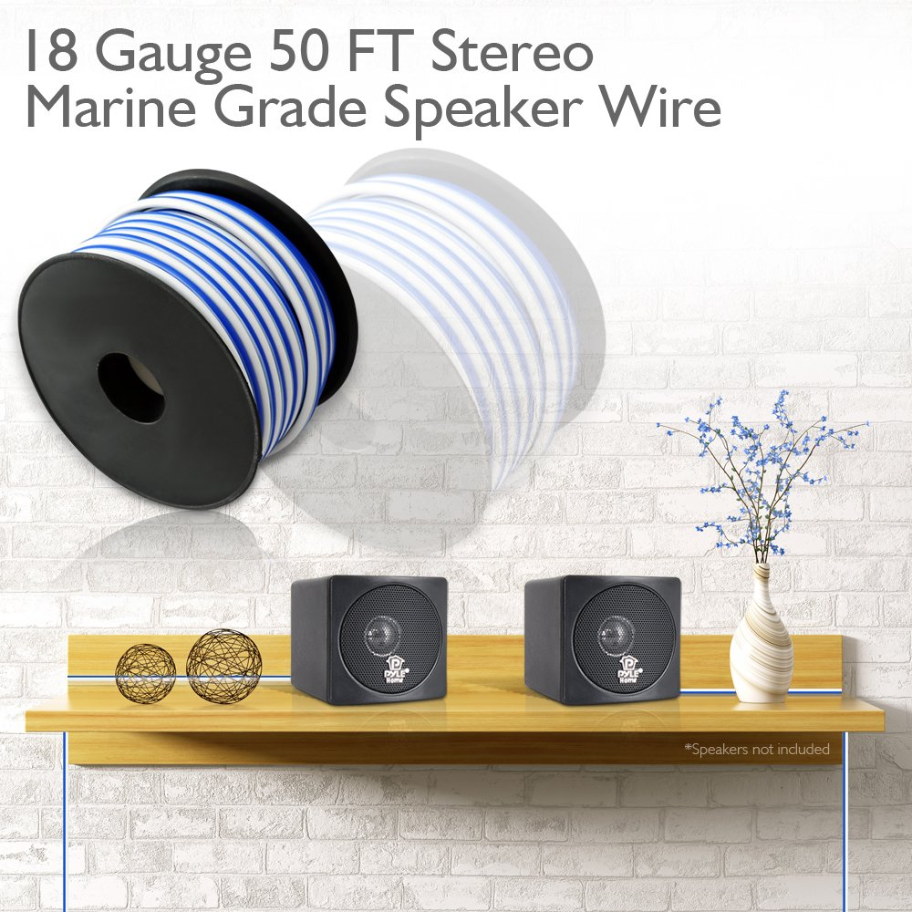 50ft 18 Gauge Speaker Wire Waterproof Marine Grade Wiring Outdoor Speakers To Stereo Cable In Spool For Connecting Audio Amplifier Surround Sound System