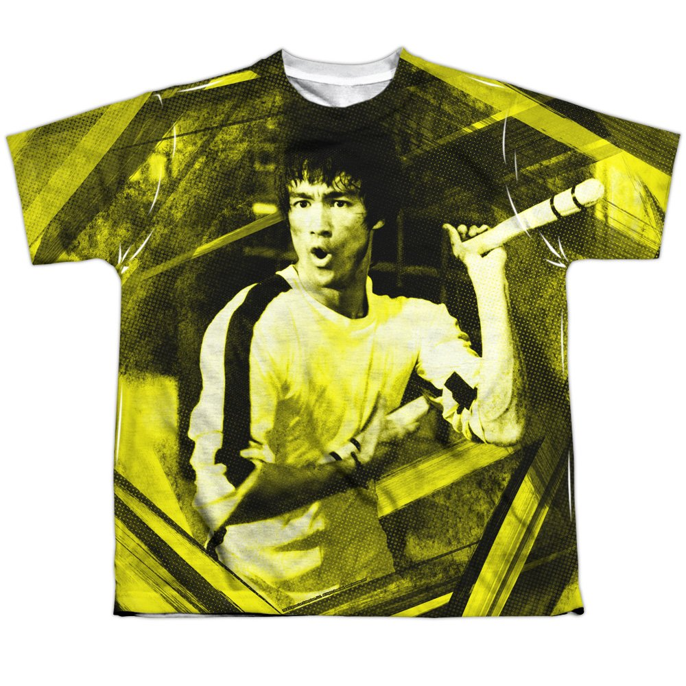 Bruce Lee Chinese Martial Arts Icon Nunchuks Big Boys Front Print T-Shirt Tee