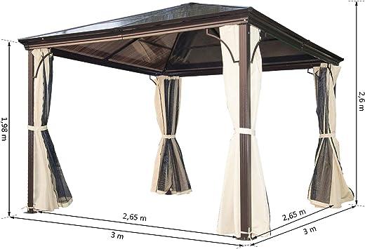 Outsunny – ® Luxus Cenador de jardín (Aluminio jardín Tienda de Fiesta con lichtdurchlässigem PC Techo: Amazon.es: Jardín