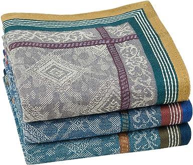 Houlife - Pañuelos para hombre, 100% algodón, diseño de rayas, suaves, estilo vintage, gruesos, 3/6 piezas, 42, 5 x 42, 5 cm multicolor, 3 unidades. Large: Amazon.es: Ropa y accesorios