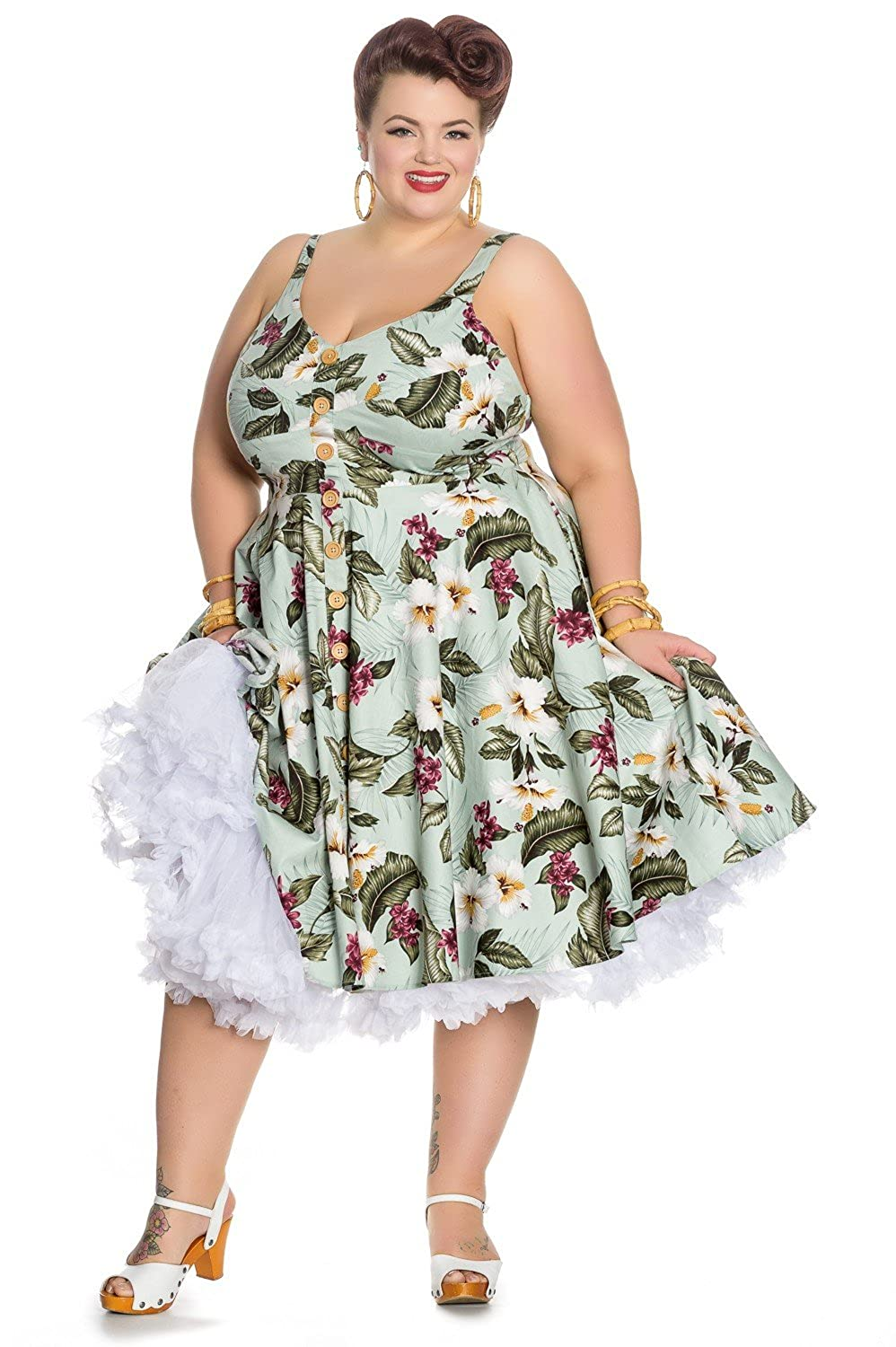 Retro Tiki Dress – Tropical, Hawaiian Dresses Hell Bunny Tahiti Tropical Floral 50s Vintage Rockabilly Flare Swing Party Dress $61.99 AT vintagedancer.com