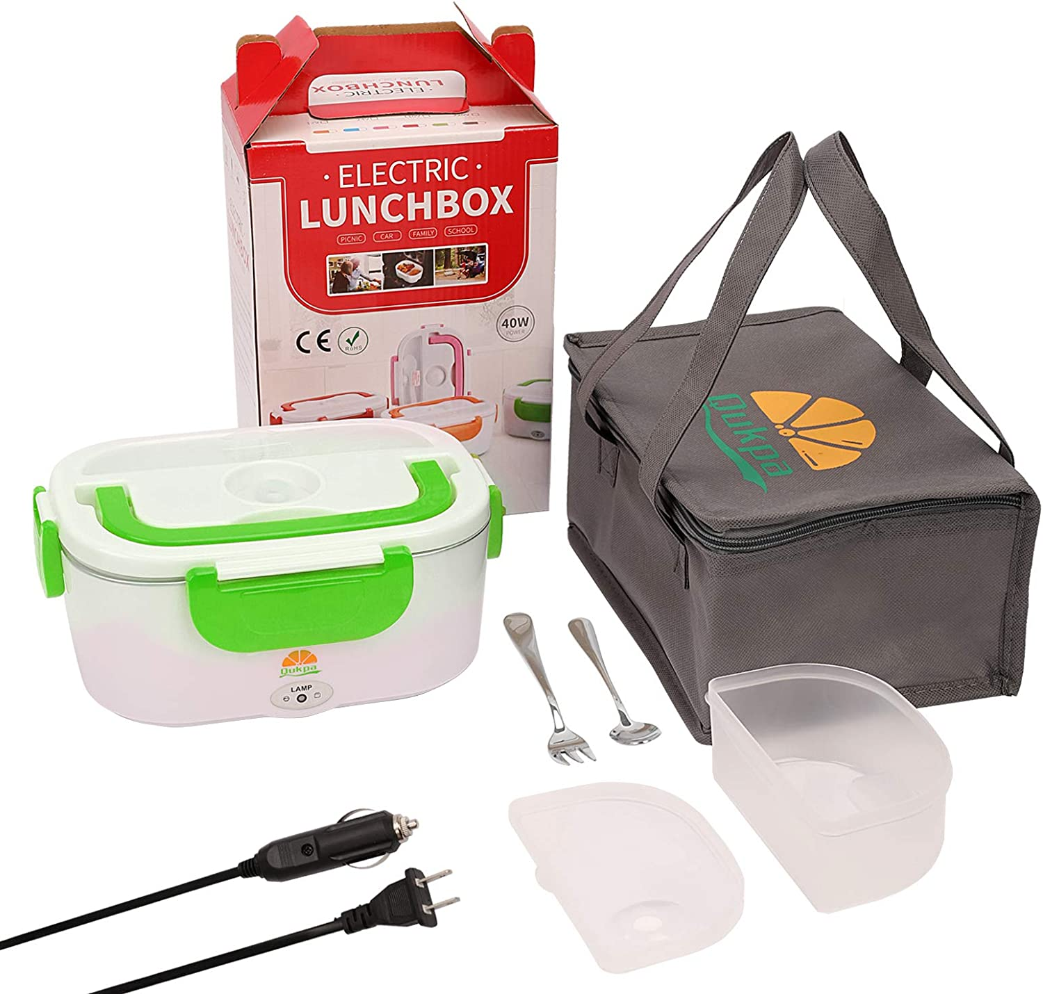 Electric Lunch Box, 3 in 1 Upgrade Car & Truck & Home Portable Food Heater 2 Compartments, 12V & 24V & 110V Mini Lunchbox with 304 Stainless Steel Fork & Spoon and Carry Bag (Green)