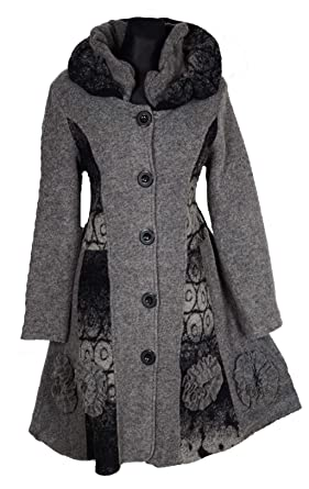 Winter Lagenlook Coat Damen Mantel Wolle Swinger Trench 1lTJcFK3